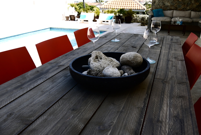 Preview b diningtable end pool steigerhouten tafel villa breeze curacao